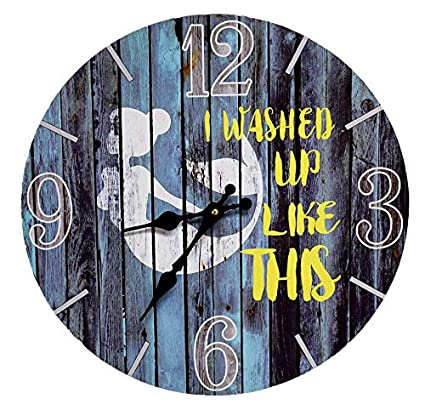 "Sea Creations New 13""X 13"" Washed Up Like This Mermaid Wood Wall Clock"
