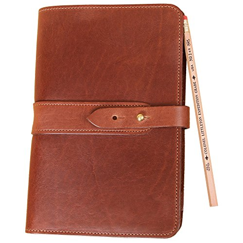 Travel Leather Portfolio Folio Notebook Business Folder Small Brown Full-Grain USA Made No. 20 by Col. Littleton