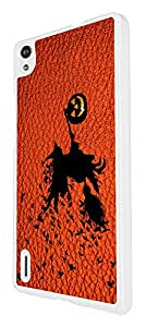 694 - Witch Pumpkin Halloween Leather Design For Huawei Ascend P7 Fashion Trend CASE Back COVER Plastic&Thin Metal - White