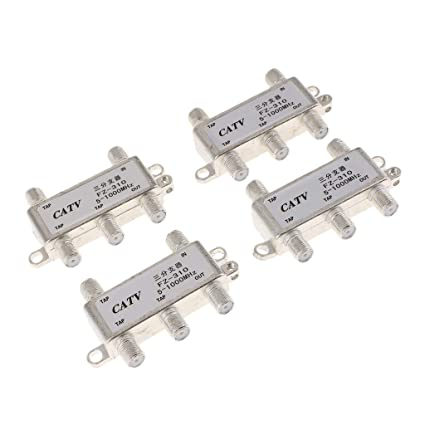 Baosity Premium 4 Sets 4 Way TV Singal Splitters 1 in 4 Out Coaxial Cables RG6