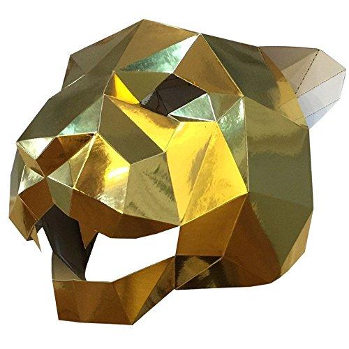 Face mask Shield Veil Guard Screen Domino False Front Jaguar Tiger Head mask Makeup Dance Party Party mask Bright - Jaguar Head Gold
