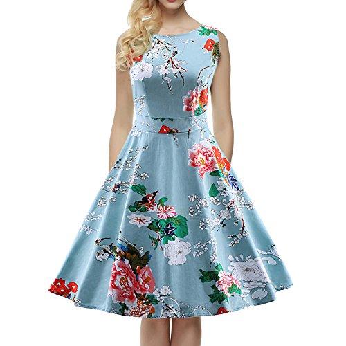 Azul Fiesta 50 Años Estilo De Flores Vintage Los Estampado Vestido Con v6SqTnF