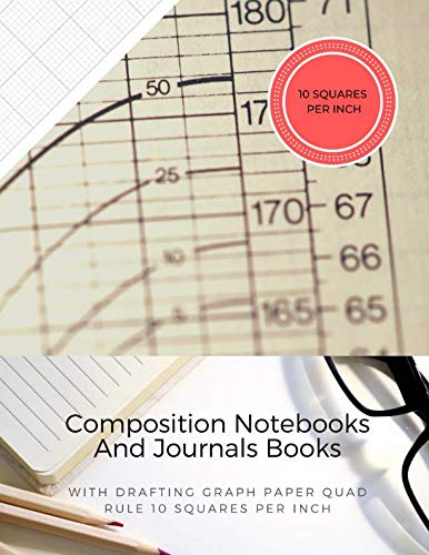 Composition Notebooks And Journals Books With Drafting Graph Paper Quad Rule ( 10 Squares Per Inch ): Graphing Notebook Journal Book College Ruled Square Grid Minimalist Art Numbered Pages Volume 25