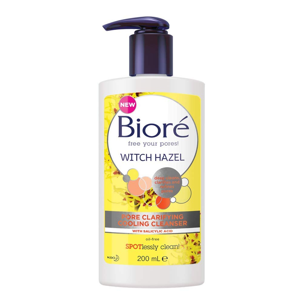 Biore Witch Hazel Pore Clarifying Cooling Cleanser For Spot Prone Skin, 200 ml