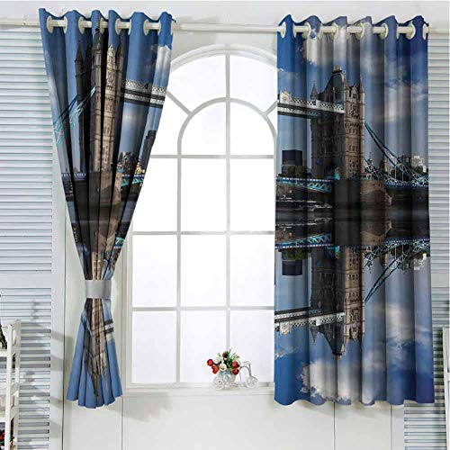 Grommet Window Curtain Black Out Window Curtain London,Tower Bridge with City Cruise in Summer Day Mirroring on Tranquil Thames River,Taupe and Blue Small Window Curtain 55 x 40 inch
