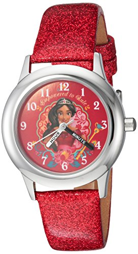 Disney Girl's 'Elena of Avalor' Quartz Stainless Steel Casual Watch, Color:Red (Model: WDS000282)