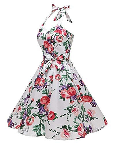 2b7b68e4ae71 Années 4 S~xxl Audrey Vintage Robe Imprimé 1950 s Pin 50 up Hepburn Blanc  Pois Soirée Halter CocktailStyle De Feixiang ...