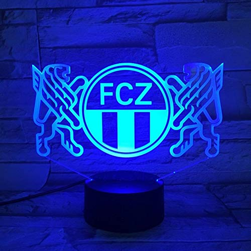 LLWWRR1 Football Club Fc Zurich Led Night Light 3D Illusion Decorative Lights Children Kids Gift Night Lamp Table Bedside Decor Neon ()