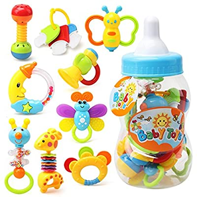 Novobey 9 Pcs Baby Rattle Teether Toy Set Candy Color Cute Shake and Grab Rattle Toys for Infant, Newborn Baby, Toddler (Storage Bottle Random color) : Baby