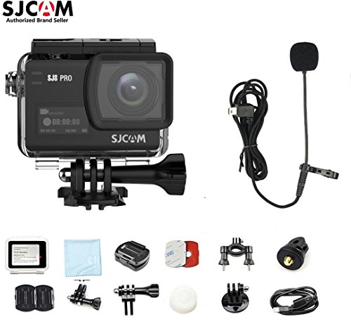 SJCAM SJ8 PRO Kit{SJ8 PRO Camera with Accessories, SJCAM Microphone} 4k/60fps Sports Cam with Ambarella H22 Sensor,EIS,170°Wide-Angle 2.33 Touchscreen,1200mAH Battery for Underwater,Outdoor Activity