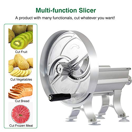 Commercial Fruit Vegetable Slicer, Hand Crank Vegetable Slicer with 2 Blades Aluminum Alloy Thickness Adjustable Chopper for Fruit Orange Apple Banana Vegetable Metal Vegetable Slicer