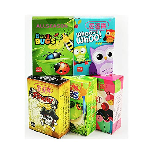 Idealplast Pack of 100pcs/5boxes Assorted Breathable Waterproof Cartoon Adhesive Bandages Hemostasis for Children Kids ()
