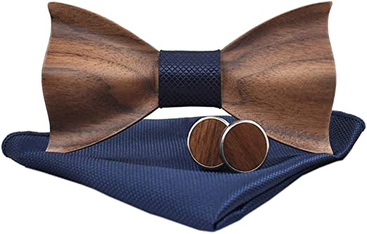 Classic Handmade Mens Wood Bow Tie Pocket Square and Men/'s Cufflinks Set Gift