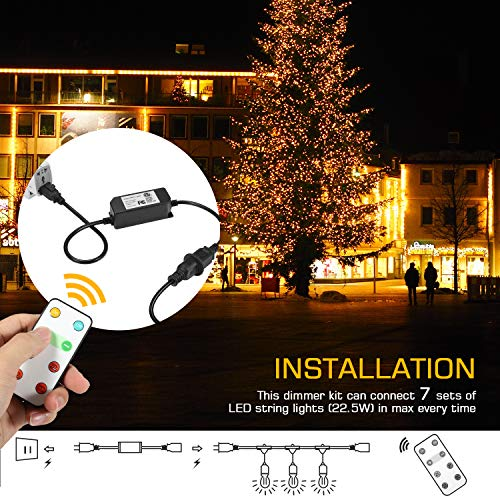 Foxdam Wireless Remote Control Dimmer,Max Power 180W,Outdoor Dimmer for The String Lights,Memory,150Ft Max Range,IP68 Waterproof, Stepless Dimming,Plug in Dimmer Switch(ONLY for LED DIMMABLE Bulb) by Foxdam (Image #4)