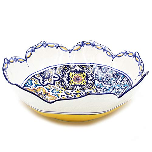 (Hand-painted Traditional Portuguese Ceramic Tulip Salad Bowl (Yellow))