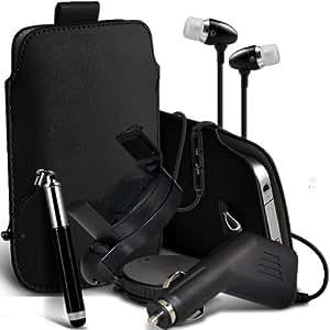 Samsung I9500 Galaxy S4 premium protección PU ficha de extracción de deslizamiento del cable En caso de la cubierta de la piel de la bolsa de bolsillo, superior de la calidad en auriculares de botón estéreo de manos libres de auriculares Auriculares con micrófono Mic y botón de encendido y apagado, retráctil Sylus Pen, 12v Micro Cargador de coche e 360 Rotating Carholder Car Mount Negro por Spyrox