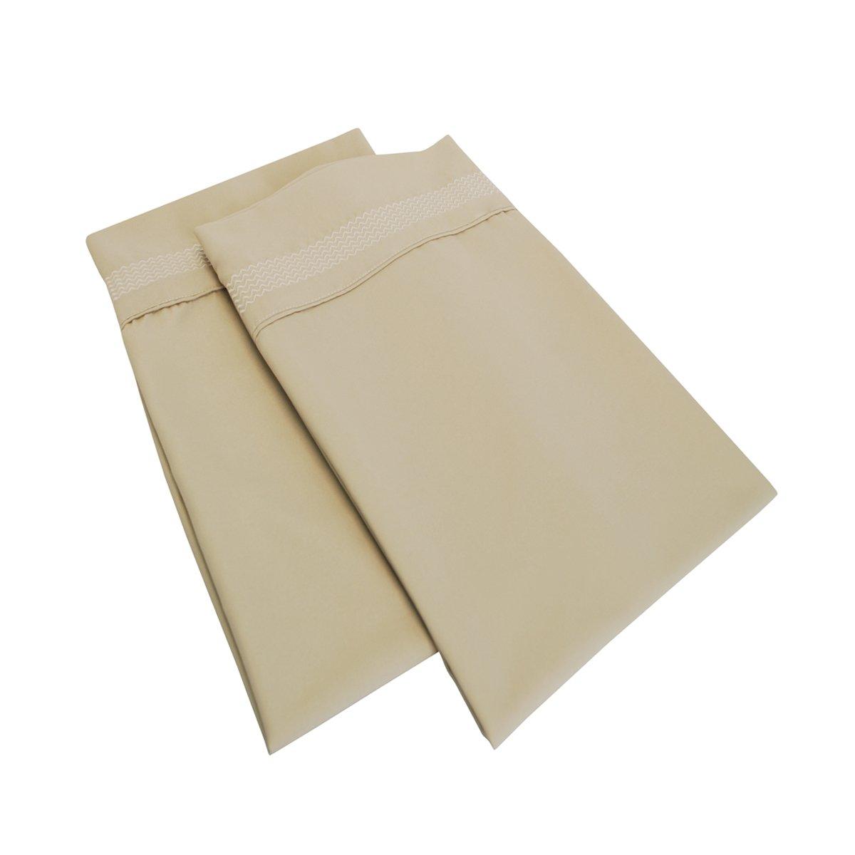 Super Soft Light Weight 100/% Brushed Microfiber Taupe 2-Piece Pillowcase Set with Peaks Hem Detail Superior MF3000KGPC PETPTP Wrinkle Resistant King