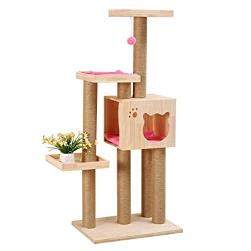 LKIHAH Compacto Árbol para Gatos Rascador con Nido,Play ...