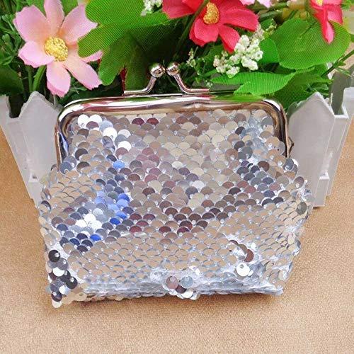 Glitter Women Sequins Buckle Change Coin Purse Clutch Handy Wallet Key Bag Pouch (Color - White)