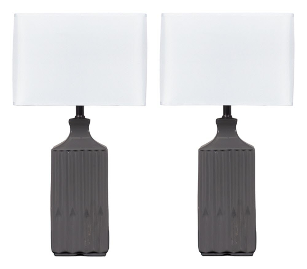Ashley furniture signature design patience glazed ceramic table lamp contemporary square shades set of 2 gray desk lamps amazon com