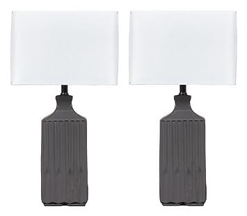 Ashley Furniture Signature Design   Patience Glazed Ceramic Table Lamp    Contemporary Square Shades   Set