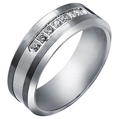 Tungsten Carbide Diamond Men's Wedding Band .20CTW (H-I I2),size 12 by AX Jewelry (Image #2)