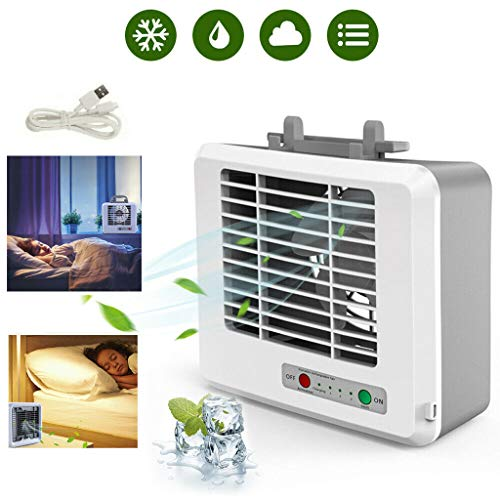 Oufenli Mini Portable Air Conditioner, USB 220V Cooler, Battery Power Fan for Home Office Desktop Small Room Purifier Cooler (White)