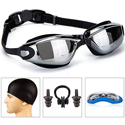 Swim Goggles,SHREBORN Swimming Goggles Swim Cap Swim earplugsSet Non Leaking,Swimming Goggles For Adult Men Women Youth Kids Child,Swim Glasses anti-fog waterproof UV Dustproof - Goggles Cleaning Swimming