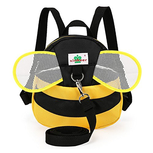 [Baby Anti-lost Backpack, Anti-lost Preschool Backpack, Mini Travel Safety Bag, Baby Walking Safety Harness Reins Toddler Child Backpack Backpack Assistant with Safety Leash Yellow Bee] (Sliding Side Reins)