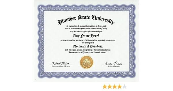 Amazon.com: Plumber Plumbing Degree: Custom Gag Diploma Doctorate ...