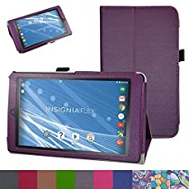 "Insignia NS-P08A7100 Case,Mama Mouth PU Leather Folio 2-folding Stand Cover with Stylus Holder for 8"" Insignia Flex NS-P08A7100 Andriod 6.0 Tablet 2016,Purple"