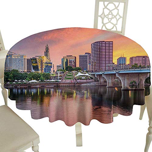 tablecloth 54 Inch United States,Water Reflection in Evening Urban City Hartford Connecticut Tranquil Sunset,Multicolor Great for,family,outdoors,restaurant,Party,Wedding,Coffee Bar,traveling,Party,ho