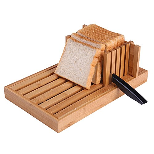 ISINO Eco-Friendly Bamboo Fiber Bread Slicer Cutting Board with Compact Foldable Stabilizer Stop Board and Built-In Crumb Catcher(13.4 x 8.3 x 4.1 - Wood Homemade Stabilizer