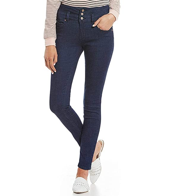 YMI Jeanswear Juniors Wannabettabutt Triple Button Stacked-Waist Skinny Jeans