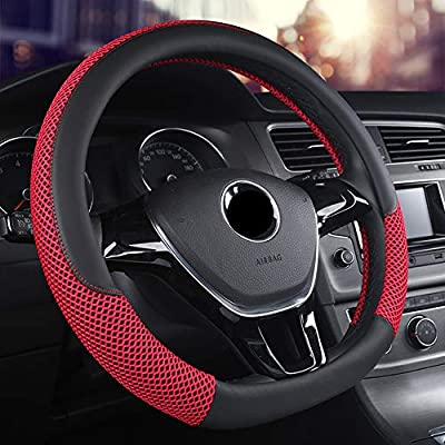 Anti-Slip Steering Wheel Cover Microfiber Leather Viscose Odorless Universal 15 Inches Breathable red Warm in Winter Cool in Summer