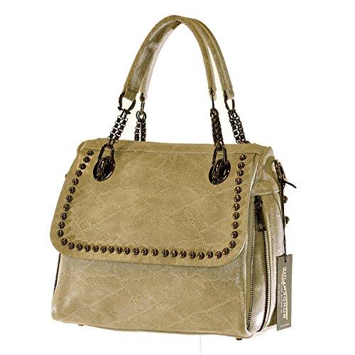 BORDERLINE - 100% Made in Italy - Exclusif sac souple Femme en cuir véritable avec boutons - JESSICA Beige Brillant