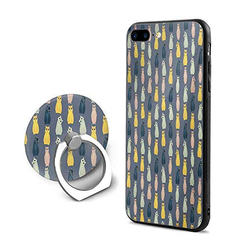 Cats iPhone 7 Plus/iPhone 8 Plus Cases,Colorful Pattern with Young Baby Kitties in Different Poses Domestic Friendly Kittens Multicolor,Mobile Phone Shell Ring Bracket