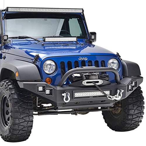 E-Autogrilles Jeep Wrangler JK Black Textured Front Bumper Built-in LED Lights and Winch Plate
