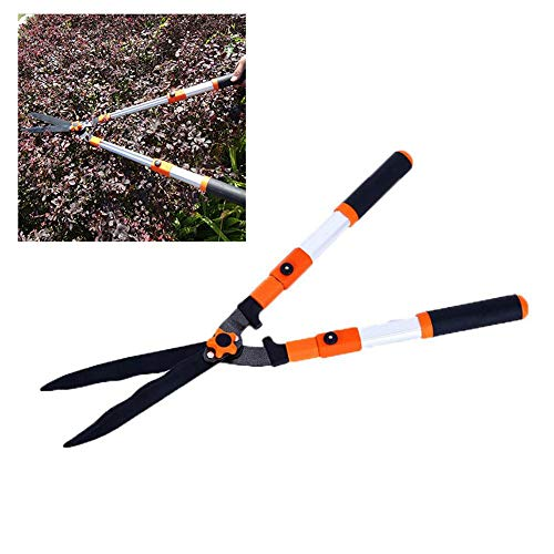 MOGOI SK-5 Garden Hedge Shears, Heavy Duty Manual Hedge Clippers with Wavy Blade and Telescopic Soft Handle Professional Hand Pruner Hedge Trimmer for Hedges, Bushes and Trees