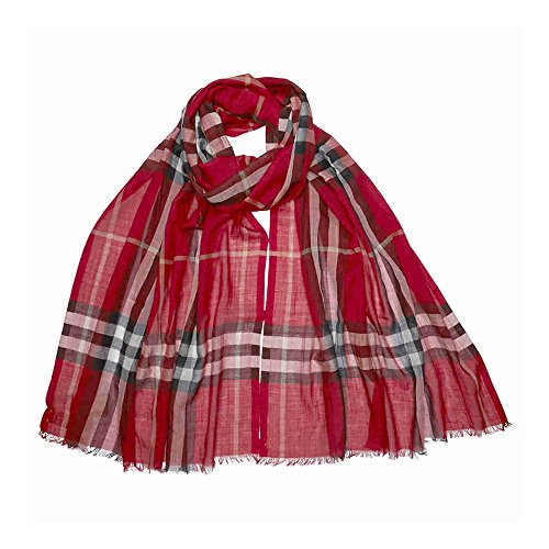 Burberry Lightweight Check Wool and Silk Scarf - Parade Check by BURBERRY