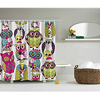 Owl Decor Extra Long 84 Inch Shower Curtain Fuchsia Green Yellow White Turquoise Dark Purple