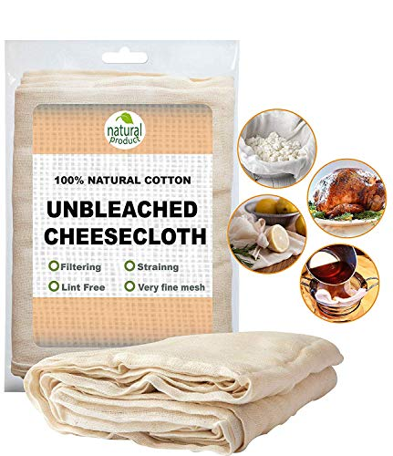 Ultra Fine Cotton Cheesecloth - 9 Sq Feet Unbleached Filter Strainer Baking Cooking & ALL PURPOSE Hallowmas Decorations Cheese (1xPACK)
