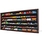 HO Scale Train Hot Wheels Display Case Rack Cabinet Wall Shadow Box w/ UV Protection- Lockable (Mahogany Finish)