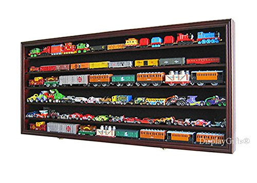 HO Scale Train Hot Wheels Display Case Rack Cabinet Wall Shadow Box w/ UV Protection- Lockable (Mahogany Finish) (Door Ho Scale)