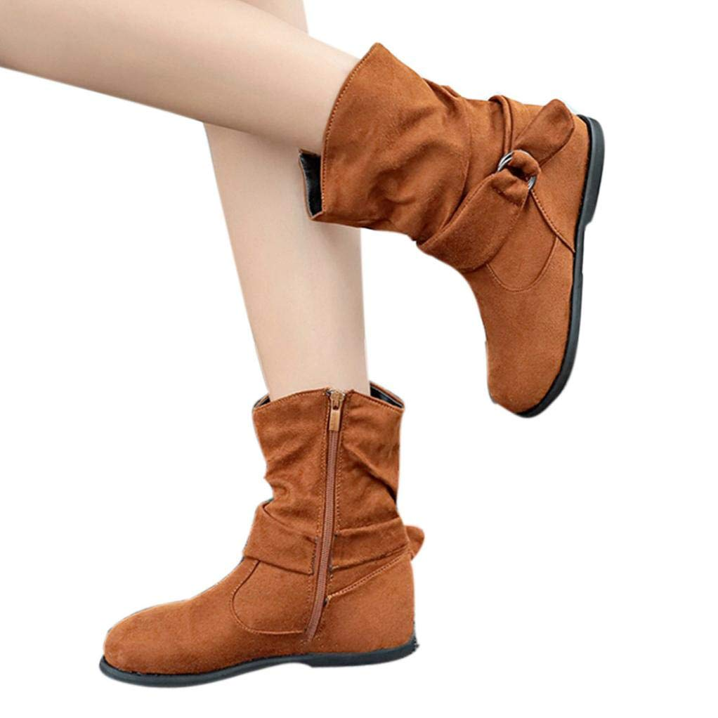 Shybuy Women's Vintage Flock Zip up Flat Booties Casual Autumn Winter Ankle Boot Western Boot (5.5, Brown)