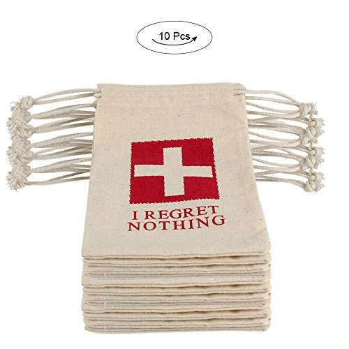 AerWo 10pcsI Regret Nothing Cotton Muslin Bags & Hangover Kit Bags with Double Drawstring, Customized Hangover Survival Kit First Aid Kit for Bachelorette Party Supplies Wedding Welcome Bag, Ivory
