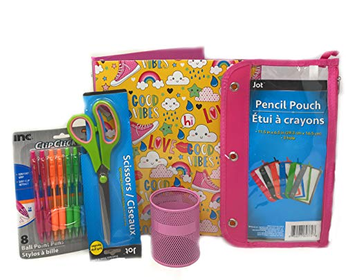 Back to School Good Vibes Bundle, Includes 1 Trendy Binder (1 inch), 1 Pencil Holder, 1 Pencil Pouch, 1 Pair of Scissors, and 1 Pack of Colored Pens (8 pens)