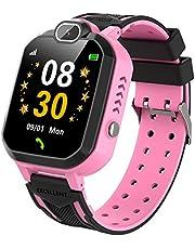 Barn smartklocka för pojkar flickor mobiltelefon spel smart klocka för barn musikspelare kamera väckarklocka födelsedagspresent (rosa)