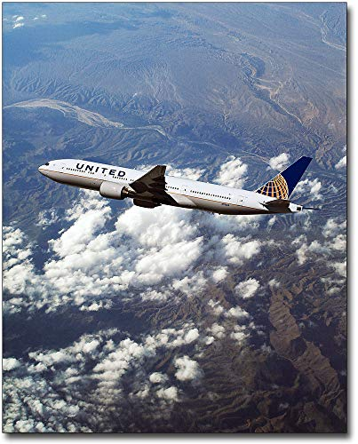United Airlines Boeing 777-200 in Flight 20x24 Silver Halide Photo Print