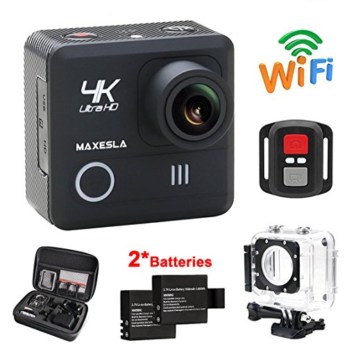 MAXESLA Action Camera 4K WIFI Waterproof Sports Camera 16MP Ultra HD 170° Wide-Angle Len Underwater Cam with 2 Rechargeable Batteries and Free Travel Bag Include 20 Accessories Kits Action Cameras MAXESLA
